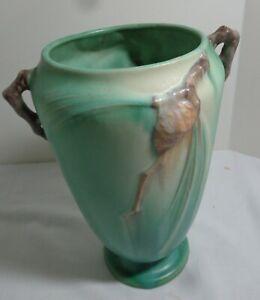 """Roseville 1936-1939 Art Deco Green """"Pinecone""""  Vase #709-10"""""""
