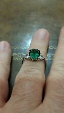 Heart Shaped Full Of Fire Cz Ring Beautiful Large Oval Green Cz Flanked By 2