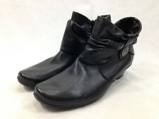 NEW Remonte Dorndorf Boots Womens US 10.5 EU 41 Black Leather Side Zip Booties