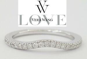 Vera Wang Love 0.25 ct Diamond Contour Wedding Band 14k White Gold Rtl $889