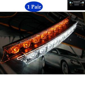 2PCS Car LED Daytime Running Lamp Car Flashing Net Lights W/Steering Universal