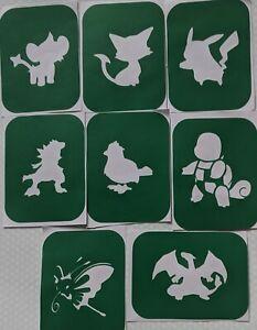 8 x Pokemon-1,  Body Art Glitter Tattoo And Glass Etching Stencils Glitter