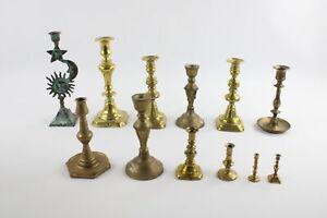 12 x Vintage BRASS Candlesticks / Holders Inc. Matching Pairs, Celestial (3739g)
