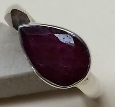 Genuine 4ct Ruby 925 Solid Sterling Silver Pear Ring sz 7.75