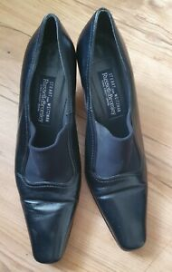 """RUSSELL & BROMLEY BY STUART WEITZMAN BLACK LEATHER SHOES SLIP ON 2.5"""" HEEL UK 7"""