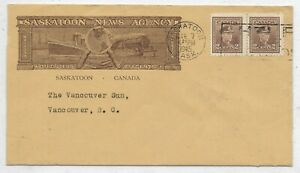 SASKATOON, SASKATCHEWAN - Saskatoon News Agency advertising cover - Circa 1945