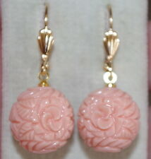 VINTAGE 14K GF ANGEL SKIN FLOWER CARVED MOLDED ROUND CORAL LEVERBACK  EARRINGS
