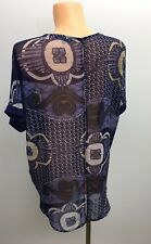 Ladies Mix Blue Paisley Summer Long Top Casual Blouse Size UK 16 NEXT
