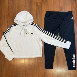 adidas Women's Hoodie Pants 2pc Set Size XL Tracksuit Black White New