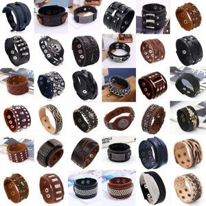 Punk Mens Wide Adjustable Rivet Leather Bracelet Cuff Wrap Wristband Bangle