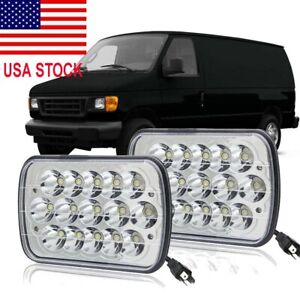 Pair 7X6'' LED Headlights Hi/Lo Ford E-150 E-350 Econoline Club Wagon Cargo Van