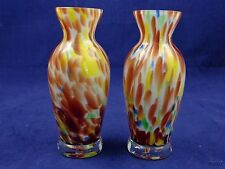 Two Small Multi Colored Swirl Art Glass Vases