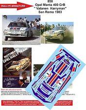 "DÉCALS  1/18 réf 858 Opel Manta 400 GrB "" Vatanen  Harryman"" San Remo 1983"