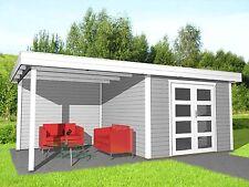 Flachdach Gartenhaus mit Seitendach, 6.1Mx3.5M aus Holz, 28mm Kassel 28216
