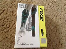 Womens 2XU Hyoptik Compression Socks Dark Grey Green WA3576E Size S
