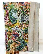 Beautiful Paisley Bedding Handmade Kantha Quilt-Throw Twin Vintage-Bed-Cover