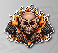 SKULL FLAMES Burning Pistons  - Vinyl Sticker Decal Tank Motorcycle 120mm