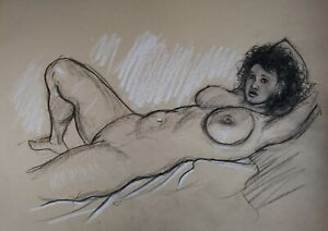 original drawing of a nude erotic lady on her bed on buff paper size A3