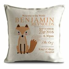 New Baby Christening Cushion Cover Personalised Gift - Fox Illustration - 16inch