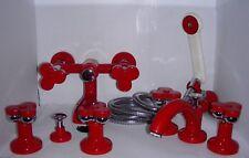 Rubinetteria tre fori lavabo, bidet, vasca rosso cromo ZAZZERI Loto