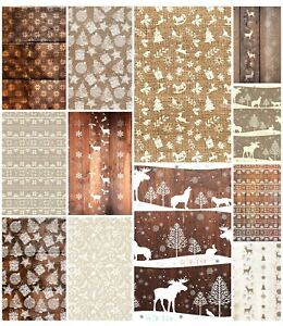 RUSTIC WOODEN  CHRISTMAS  BACKING PAPERS - 4/12 x A4 Sheets- 160gsm