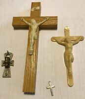 CROSS- CRUCIFIX, Lot Of 4, Wood, Sterling and Plastic