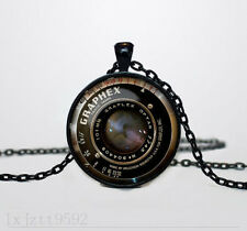 Camera lens Charm Glass Dome Cabochon Black Chain Necklace Pendant Jewelry(WC127