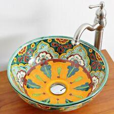 VERANO - Mexiko Waschbecken bunt - Gäste-WC, bemalt Keramik Aufsatzwaschbecken