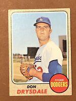 1968 Topps Don Drysdale Card #145 EX HOF Los Angeles Dodgers