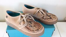 UK 4 BLOWFISH LACE UP FLAT LOW WEDGE SHOES FAUX  SUEDE SNAKESKIN NEW BOPPER