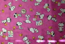 Peanuts Snoopy & Gang Happy on Pink Quilt Fabric Novelty Fat Quarter FQ FQs