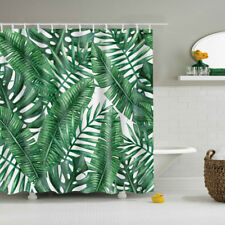 Retro Shower Curtain Green Leaf Polyester Panel Hanging for Bathroom Hotel