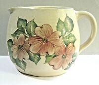 Stoneware Pitcher Pottery Crock Pink Dogwood Hand Painted Floral Folk Art Design