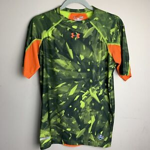 Under Armour Mens NFL Draft Combine T-Shirt Fitted Heat Gear Small Green Orange