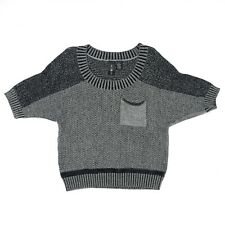 Boy Meets Girl Sweater Boxy Crop Size XL Womens Short Sleeve Black Gray