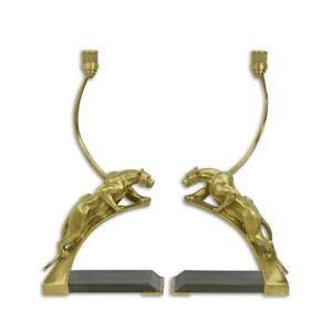 9973764-ds Paar Kerzenhalter Kandelaber Bronze Art deco Panther 24x48cm