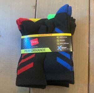Hanes Premium Performance Boys Crew socks (shoe size 3-9) 7 pairs Black X-Temp