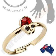 Adjustable Brass Mid-Ring Toe Ring Alien Skull with Red Cz