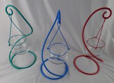 """3 Colors Iron 12"""" Candle Holders Moroccan Candlestick Glass Ball Hanging Stand"""