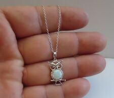 925 STERLING SILVER OWL NECKLACE PENDANT  W/  OPAL / LAB DIAMONDS/18'' CHAIN
