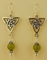 Irish Connemara Marble Silver Celtic Trinity Knot earrings