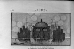 Plan for Remodeling New York,NYC Skyline,Skyscrapers,1912,Life,Statue of L 5779