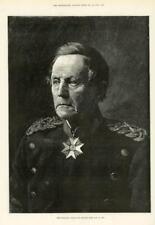 1890-antica stampa ritratto Feldmaresciallo Conte Von Moltke Militare (229)