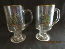 """2 SPODE CHRISTMAS TREE Clear Glass IRISH COFFEE MUGS, 5 5/8"""" Tall, Excellent!!"""