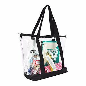 DALIX Clear Shopping Bag Security Work Tote Shoulder Bag Womens Handbag in Black