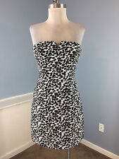 max and Cleo BCBG S 4 Black White Jacquard Strapless Cocktail Party Dress Sheath