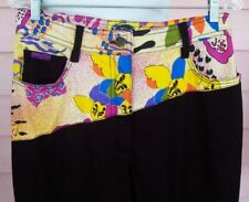 NINI FERRUCCI Jeans 10 12 BLACK with AWESOME PRINT Colorful Cool Chic RARE