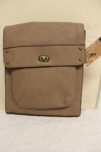 Kangol Brown Turnlock Crossbody Bag