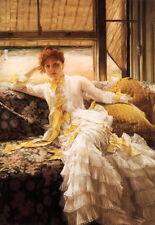 """Art Oil painting Joseph Tissot - Young lady in the morning in spring canvas 36"""""""
