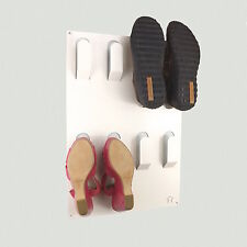 Designer Wall Mounted 4 Pair Shoe Storage Rack White by The Metal House